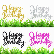 1pc Happy Birthday Cake Topper Multi Colors Glitter Flags Wedding Party Baking Decor Babyshower