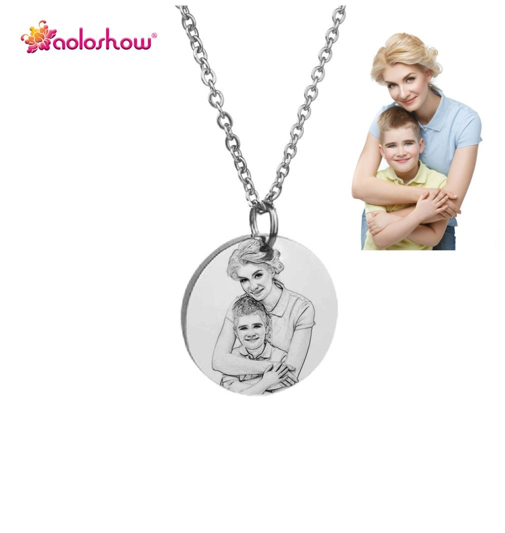 AOLOSHOW Custom Personalized Photo Engraved Necklace Stainless Steel Disc Charm Gold Necklace for Women Valentine's Day Gift