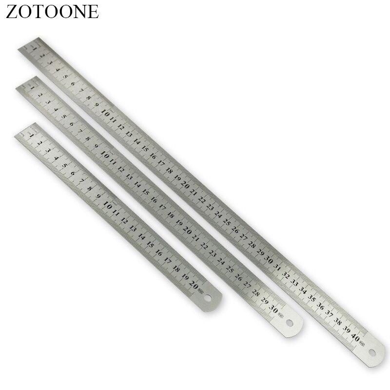 ZOTOONE средство для шитья аксессуар 15/20 Вт, 30 Вт, 40 см Нержавеющаясталь металлическая линейка метрических правило точность Двусторонняя измерительный инструмент D