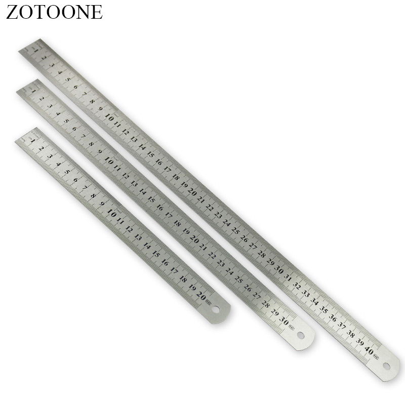ZOTOONE Sewing Tool Accessory 15/20/30/40cm Stainless Steel Metal Ruler Metric Rule Precision Double Sided Measuring Tool D