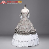 High Quality Civil War Old West Floral Print Lace Period Dress Ball Gown Reenactment Clothing