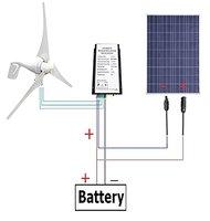USA Stock 12 V 500 Watts Wind Solar Powered System: 12V/24V 400W Wind Turbine Generator + 12V 100W Polycrystalline Solar Panel