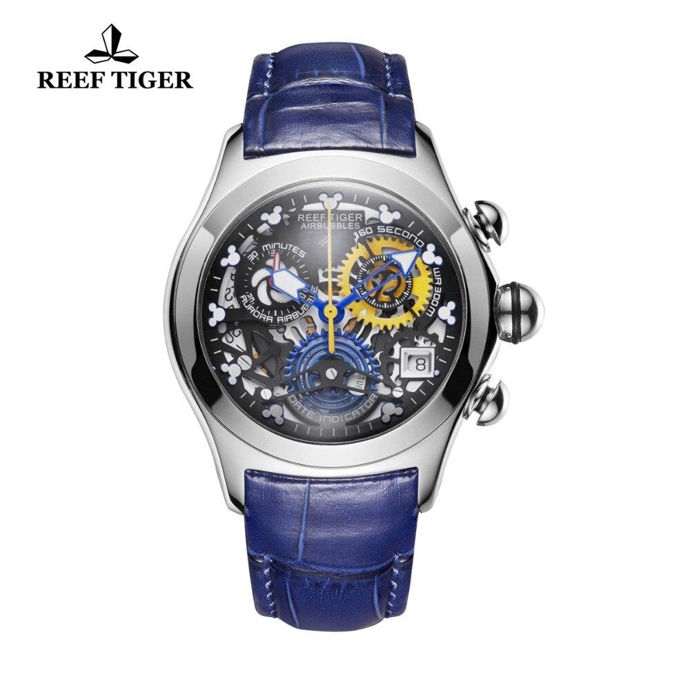 Риф Тигр новый дизайнер лучших брендов модные спортивные часы для Для женщин Сталь Синий кожаный ремешок часы Скелет Водонепроницаемый