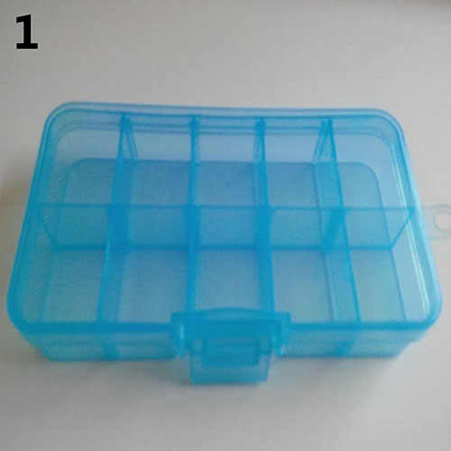 プラスチック 10 スロット調整可能なジュエリー収納ボックスピルビーズホルダーケースオーガナイザーホームストレージ & 組織!
