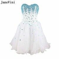 JaneVini Очаровательная белая органза Кристалл бисера Короткие платья невесты Line Милая спинки Homecoming платье для девочек
