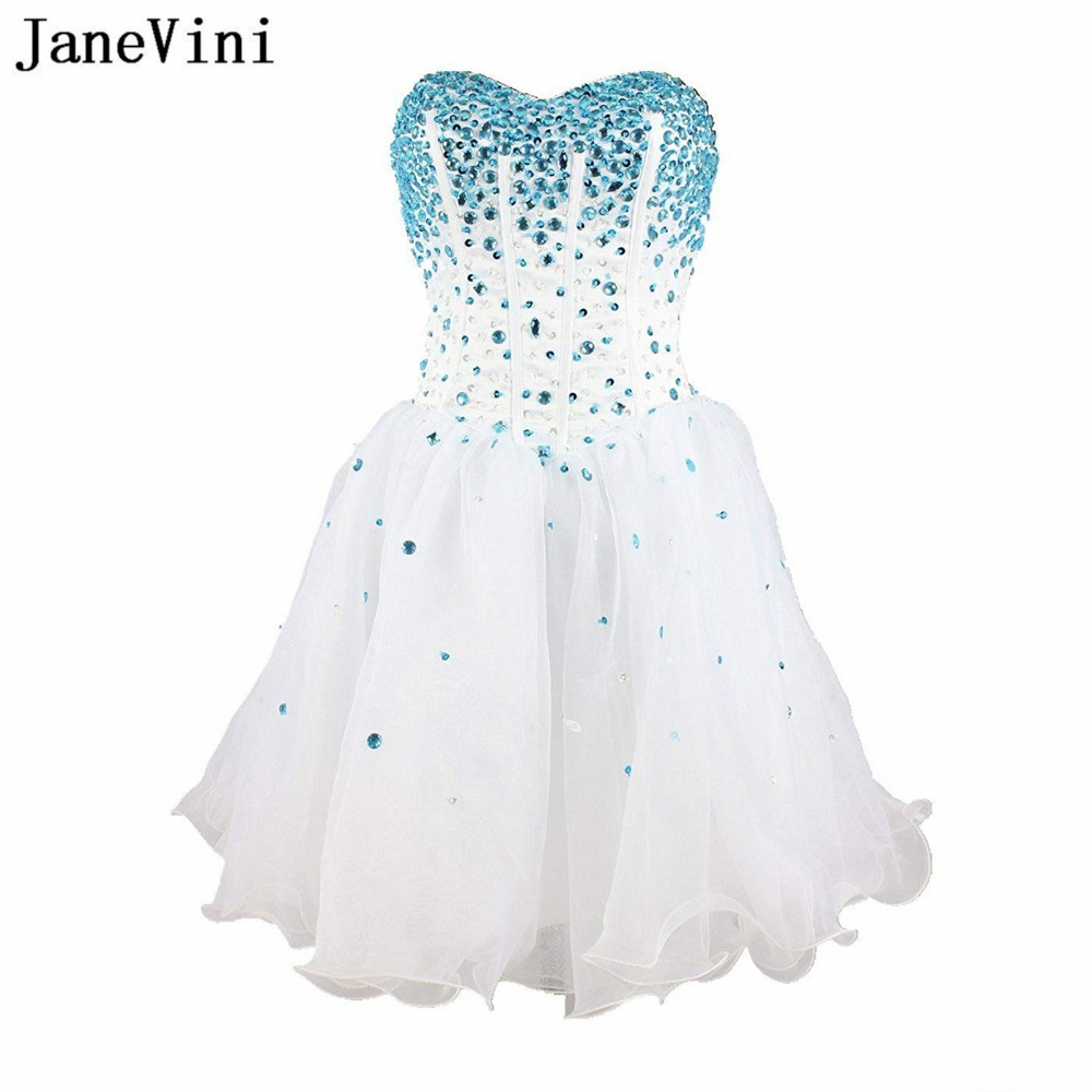 JaneVini Charming White Organza Crystal Beaded Short   Bridesmaid     Dresses   A Line Sweetheart Backless Homecoming   Dress   for Girls