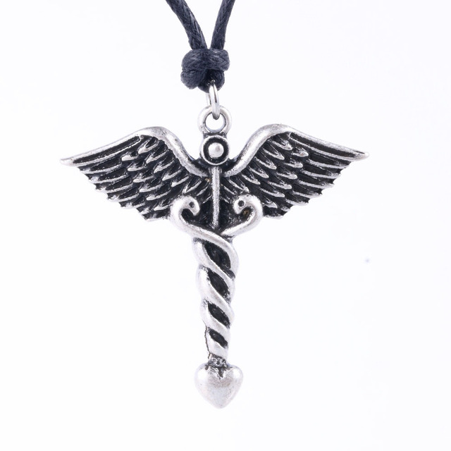 dropship caduceus medical symbol necklace metal doctor medical alert