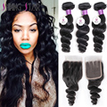 Brazilian Loose Wave With Closure 3 Bundles Loose Wave With Closure Soft 8A Grade Virgin Unprocessed Human Hair With Closure