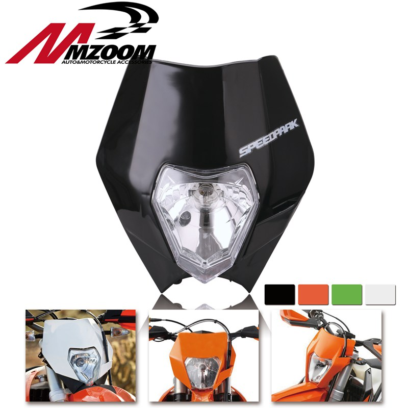 FREE SHIPPING MZOOM Motorcycle Dirt Bike Motocross Supermoto Headlamp Universal Headlight Fairing For KTM SX EXC