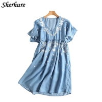 2018 Spring Summer Women Dress Floral Embroidery Empire V Neck Short Sleeve Casual A Line Midi Dress Soft Denim Female Vestidos