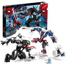 цена 07114 671pcs Super Heroes Avengers 2 LEGOINGS Spider-man Vs Venom Building Blocks Bricks Baby Toys Children Gift онлайн в 2017 году