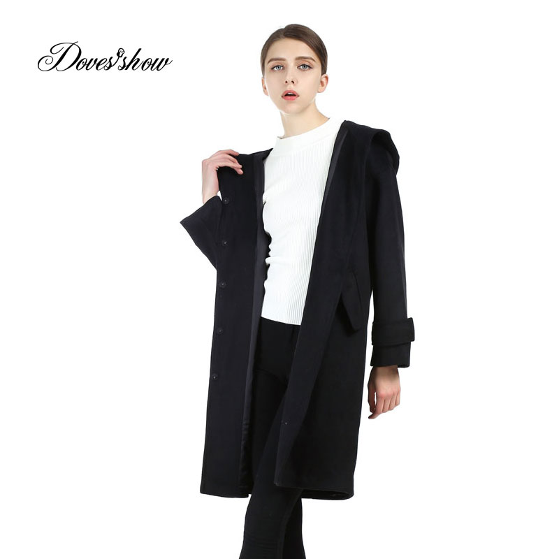 Women Hooded Cape Cashmere Coat Woolen Coat Women Winter Jacket Overcoat Female Outwear Blends Casaco Feminino Trench Lining