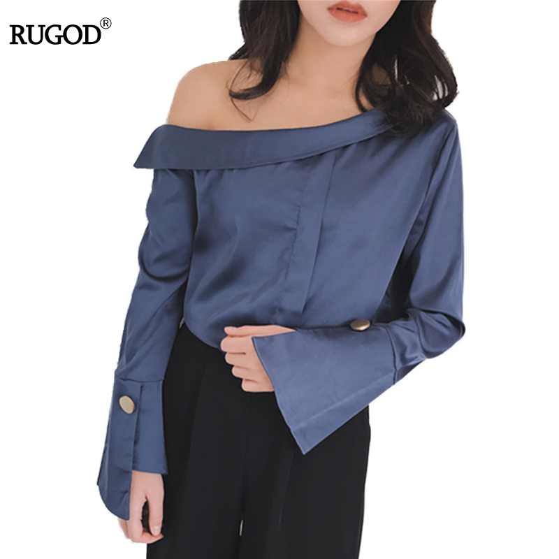 Drop Shipping  Wholesales 2017 Brand New Blusas Blouse Women Female Femme Long Flare Sleeve Off Shoulder Top Sexy Fashion Short