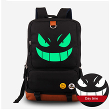 Luminous Pocket Monster Cosplay Backpacks Harajuku Pokemon Gengar Anime Fluorescent Canvas School Bags Rucksack