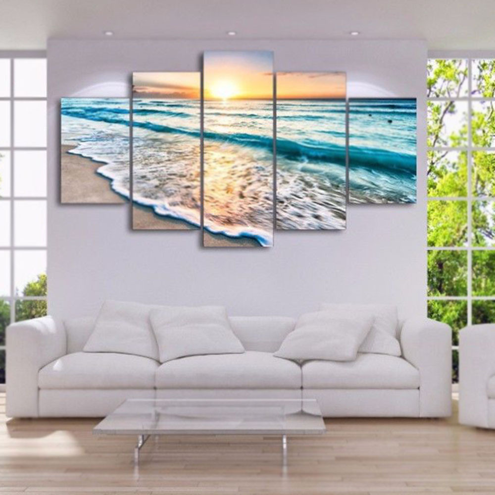 Us 9 11 21 Off 5 Pannels Unframed Ocean Beach Modern Art Oil Painting Print And Poster On Canvas Module Picture Home Wall Room Decoration In