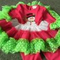 Christmas Clothing Baby Kids Clothes Snowman TUTU Dress+Leggings 2 Pcs Suit 2016 Christmas Outfit Clothing Set For 1~8 Year