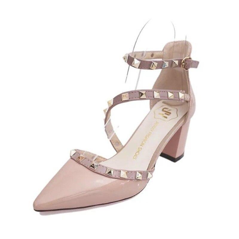 a88d2c984cf6 Runway Scarpin Nude High Heels Pointed Toe Rivet Pumps Fashion Brand Women  Shoes 2017 Italian Ankle Strap Stud