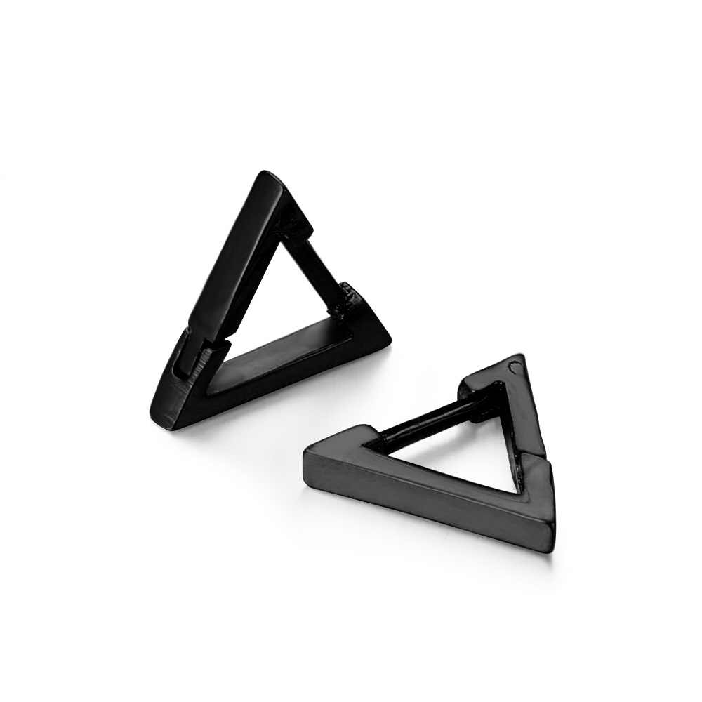 1 คู่แฟชั่นสามเหลี่ยม Unisex Punk ROCK สแตนเลสผู้ชายผู้หญิง EAR STUD ต่างหูเจาะ Push-Back EAR Plug freeshipping