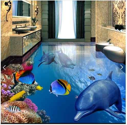 Papier peint photo personnalisé 3d plancher papier peint poisson dauphin sous l'eau 3 d la salle de bain sol papiers muraux pour salon décor