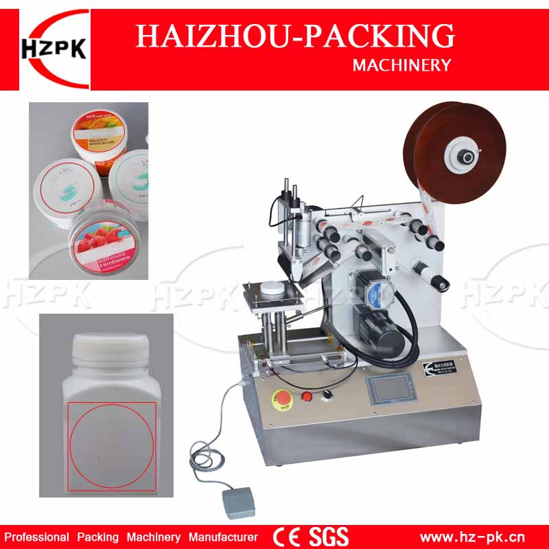 HZPK High Accuracy Flat Labeling Machine Bottle Label Machine For Square Bottle/Flat Cap Touch Screen Controller Use Roll-Label