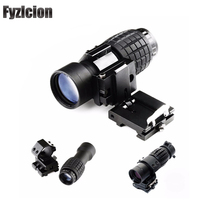 Hunting Tactical Picatinny Rail Accessories with Flip To Side 20mm Rail Mount Scopes 3X Magnifier Airsoft Rifle Scope Sight
