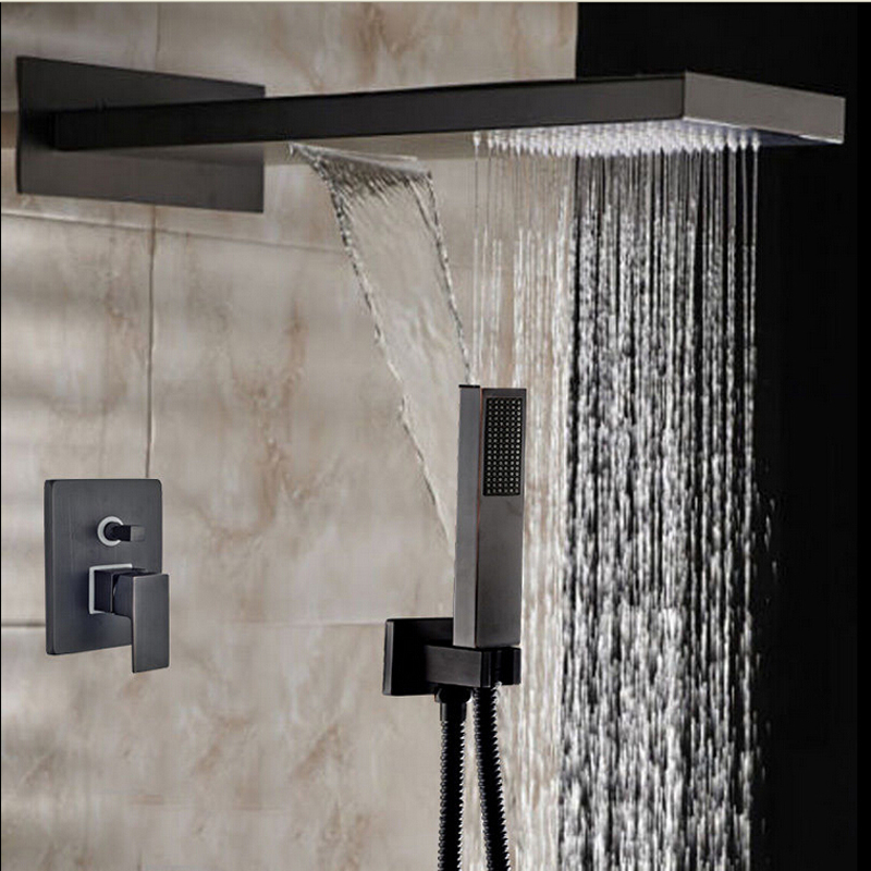 Contemporary Rainfall & Waterfall Shower Faucet 2 Ways Valve Mixer Hose Hand Shower Head Oil Rubbed Bronze Sprayer in Shower Faucets from Home Improvement on Elegant - Amazing bathroom shower heads and faucets Review