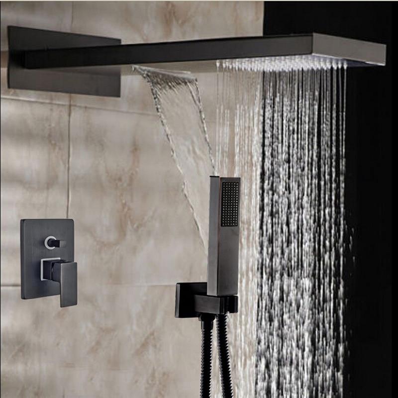 Rainfall & Waterfall Shower Faucet 2 Ways Valve Mixer Hose Hand ...