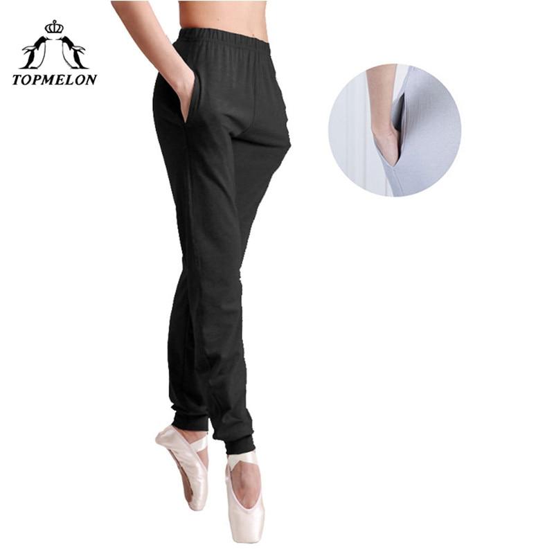 TOPMELON Ballet Dancing Pants For Women Black Soft Long Elastic Pants With Pocket Gymnastics Ballets Wear For Practice Shows