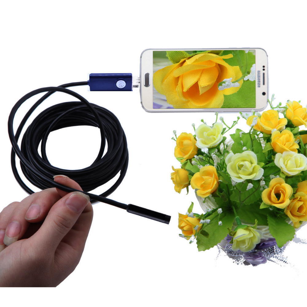 2IN1 Endoscope Android Inspection Camera Borescope Tube CMOS 2M 7mm Lens Waterproof Usb Endoscope Camera For Android Phone PC 7mm 2m endoscope endoskop android usb phone camera cable otg tube borescope pipe waterproof ip67 inspection surveillance wistino