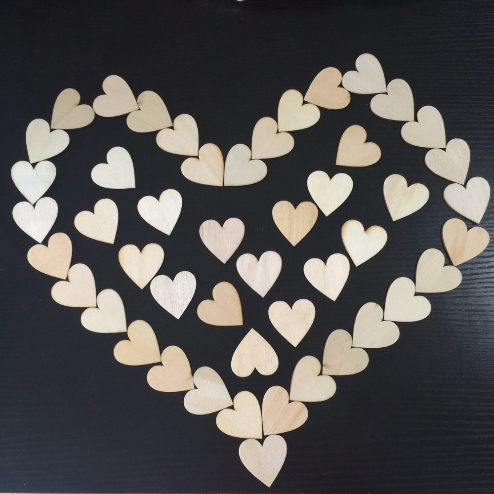50pcs 40mm Mini Heart Shape Wood Slices For Wedding Crafts Embellishment Home Wall Decorations DIY Crafts Accessories