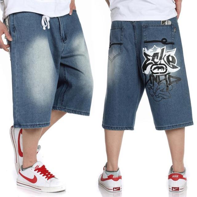 a766a741e8 Big size jeans short baggy loose hip hop pants blue casual rap jeans for rapper  boy s calf length jeans hiphop big size 30-46