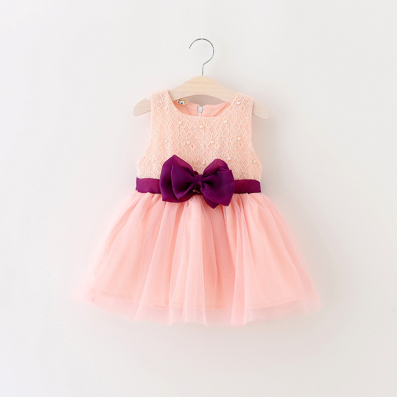 2016 summer big bow girls baby dress cute pearl lace princess dress infants clothes baby party dress for newborn birthday dress