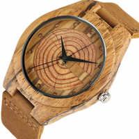 Männer der Holz Uhr Handgemachte Jährliche Ringe Block Punkte Schwarz Hände Männer Quarz Handgelenk Uhren Braun Echtes Leder Starp Sport stunde