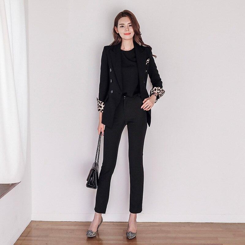 Boutonnage Manches Longues De D'affaires Deux À Double piece Couture Femmes Costume veste Suit Léopard Pantalon 8qZtWS