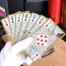 Free shipping 55pcs/set waterproof plastic pvc poker card deck collective gold edge playing cards set