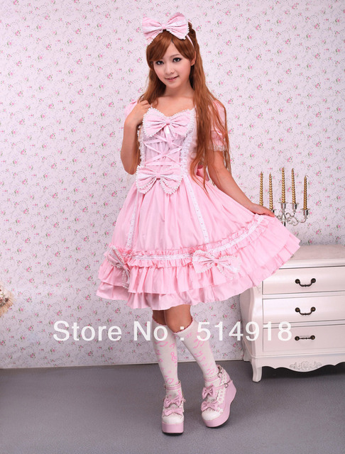 Tomsuit Cotton Pink Sweetheart Multi Layer Ruffles Short Puff Sleeves Sweet Dress With Bows And