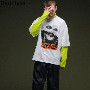 Image 5 - 다크 아이콘 가면 남자 드롭 어깨 힙합 티셔츠 긴 소매 거북이 가짜 2pcs 스트리트 남자 티셔츠 2019 새로운 가을