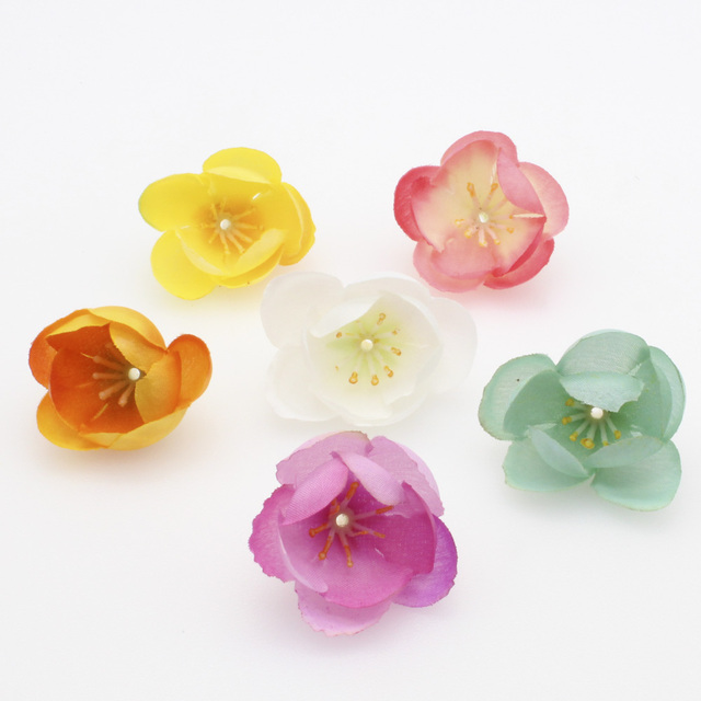 10pcs 3cm Handmade Silk Artificial Flower Wedding Home Furnishings