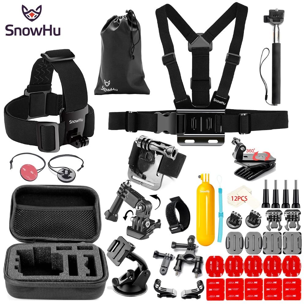 SnowHu Portable Mini Box EVA Black Camera Bag Case For Gopro Hero 5 4 3 Xiaomi Yi 4K SJCAM SJ4000 for Go Pro Accessories SH89V fat cat 13 dual cam anti shock waterproof eva case for gopro hero 4 3 3 2 sj4000 carbon black