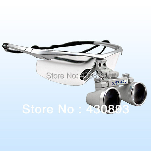 2015 New Design Siliver 3.5 X Dental Surgical Binocular Loupes Dentist 420mm
