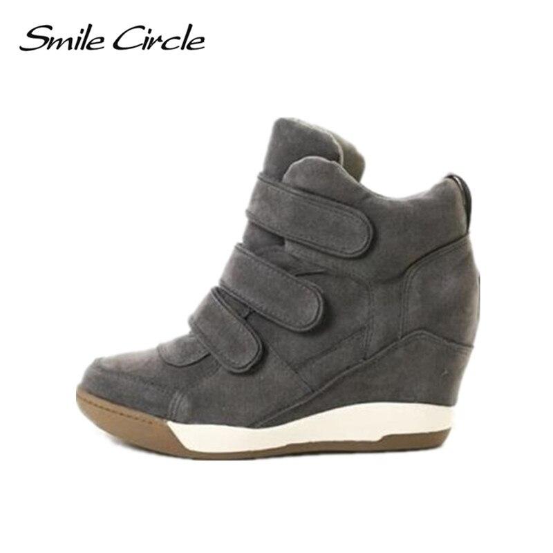 ابتسامة دائرة الشتاء النساء أحذية رياضية إسفين الدانتيل متابعة الجلد المدبوغ عالية أعلى أحذية رياضية النساء عالية الكعب عارضة أحذية منصة الخريف 2018-في أحذية مطاطية نسائية من أحذية على  مجموعة 1