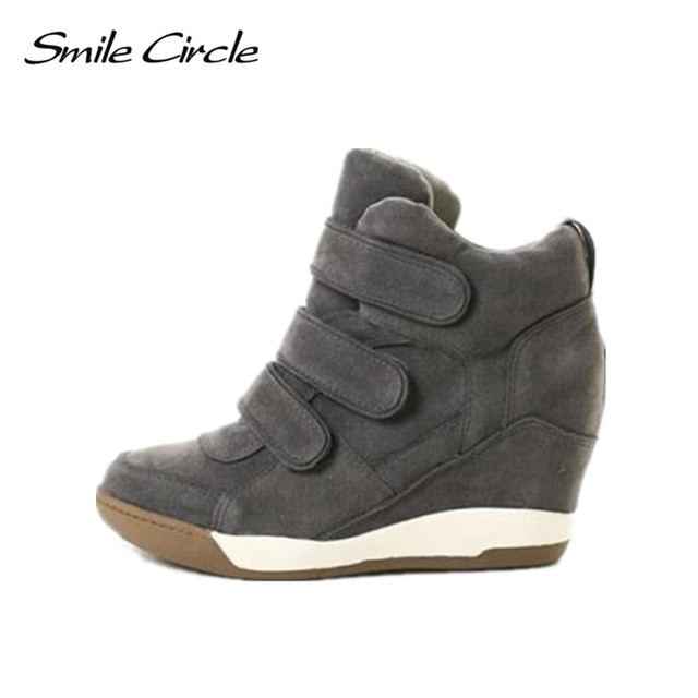 4cb46f87d7c Smile Circle Winter Women Sneakers Wedge Lace-up Suede High-top sneakers  Women High