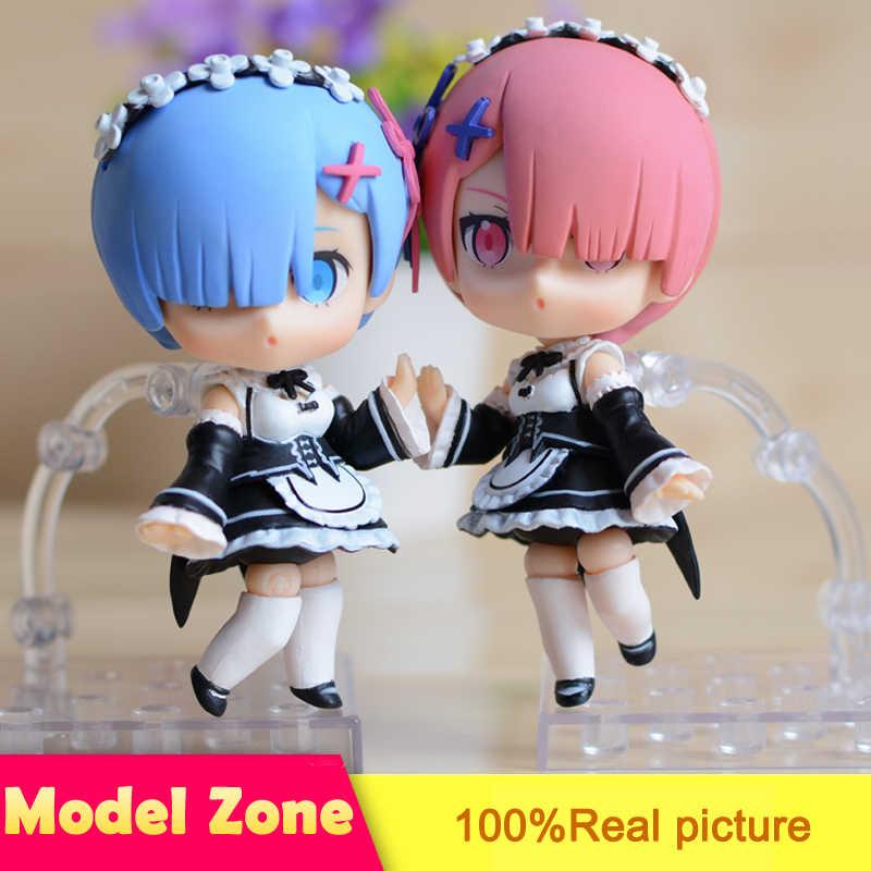 2PCS/SET 10CM Rem Re:Zero Nendoroid PVC Anime Figure Can Change Face Style Collectible Mini Model Doll Toys XX016