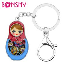 Bonsny Enamel Alloy Matryoshka Russian Dolls Key Chains Keychains Ethnic Jewelry For Women Girls Bag Wallet Charms Pendant Gift(China)