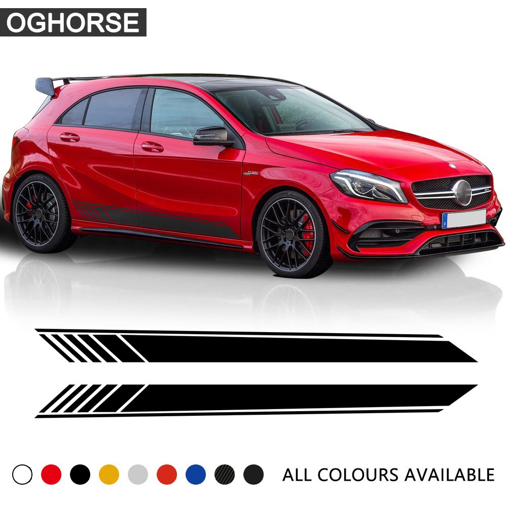 GLA45 Side Skirt Stripe Vinyl Decal Car Sticker for Mercedes Benz W176 A Class A180 A200 A250 A45 AMG Car Styling Accessories