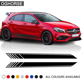 GLA45 Side Skirt Stripe Vinyl Decal Car Sticker for Mercedes Benz W176 A Class A180 A200 A250 A45 AMG Car Styling Accessories цена 2017