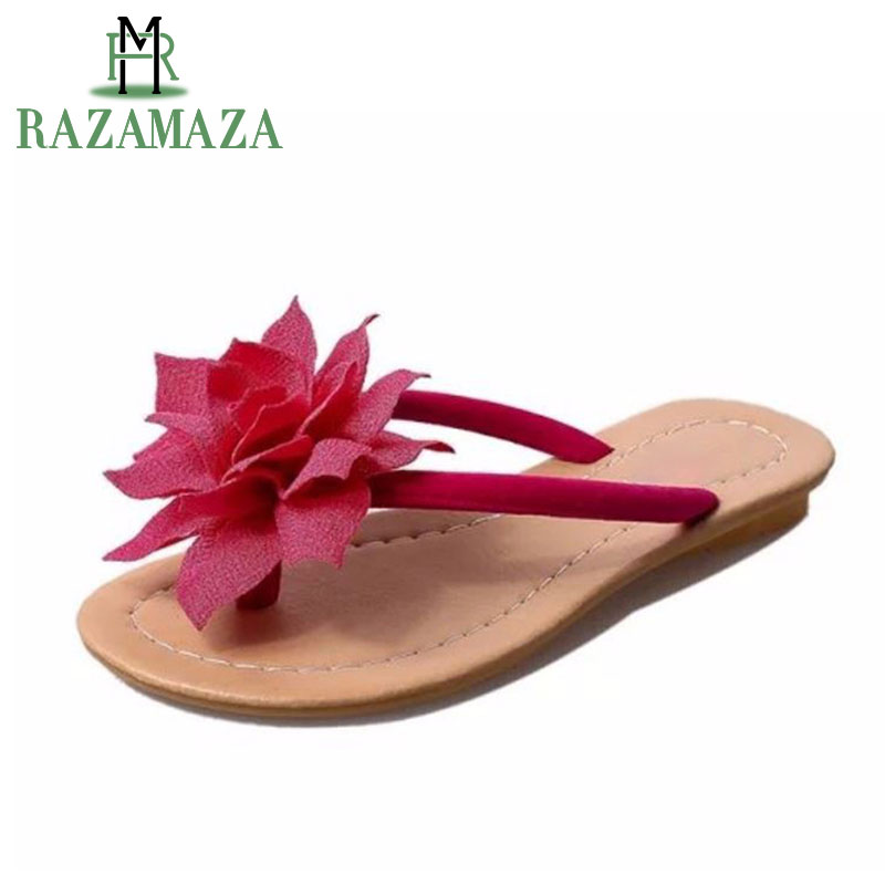 RAZAMAZA flower brand quality leisure women sandals slippers summer shoes beach flip flops women footwear size 36-40 WA0183 coolcept flat sandals quality leisure women sandals slippers summer shoes beach flip flops women footwear size 35 40 wb0164