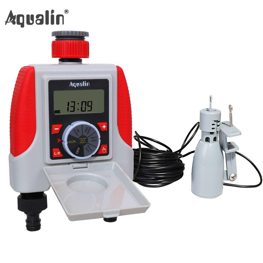 Dual 2 Outlet Automatic Watering Timer Digital Electronic Solenoid Valve Sprinkler Timer 21068 and Rain Sensor
