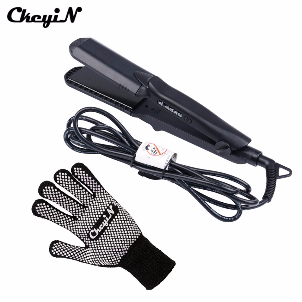 CkeyiN 4in1 Professional Ceramic Hair Flat Iron Wave Corrugation Hair Curler Straightener Curling Hair Crimper Corrugated Curl