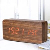 Sounds Control Wooden Rectangular LED display automatically Alarm Clock Digital